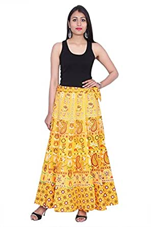 Kastiel Yellow Cotton Long Printed Sanganeri Jaipuri Winter Skirt for Woman's/Girls
