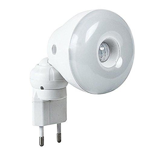 2 in 1 sensore di movimento PIR 5W LED bianco lampadina con spina EU giallo luce notte lampada funzione