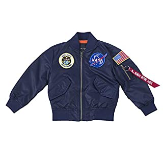 OYSTERBOY NASA MA-1 Flight Jacket Military Coat for Kids Boys (125cm(8T), Replica Blue)
