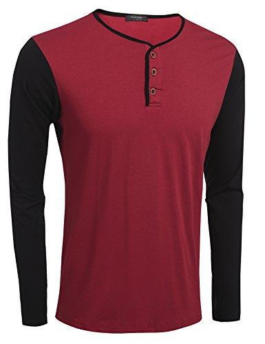 Coofandy Herren Langarmshirt Sweatshirt Longsleeve Pullover Rundhals T-shirts Winerot