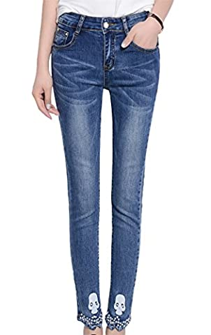 DQQ Women's Beaded Skull Washed Cotton Ankle Skinny Jeans UK 10 Blue