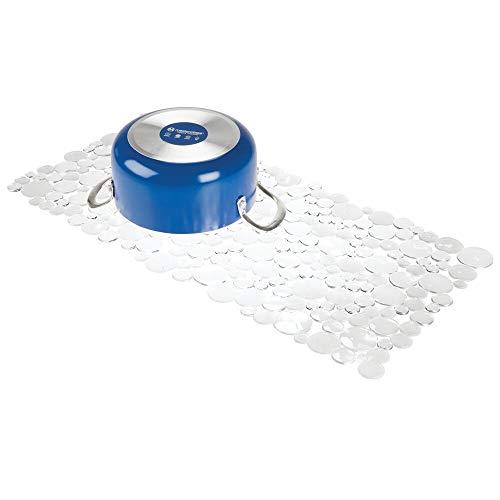 mDesign Spülbeckenmatte zum Zuschneiden - große Matte in Seifenblasen-Optik für die Küche - Spülbeckeneinlage aus PVC für Geschirr und Becken - transparent