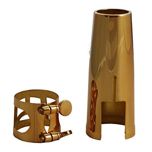 Soundman® Blattschraube Saxophon Baritonsaxophon Metallblattschraube + Mundstückkapsel Ligatur Metall Bariton Saxophone (für Baritonsaxophon)