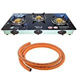 Surya Crystal || Surya Aanch|| Stainless Steel || TOUGHENED Glass || 3 Burner Automatic IGNATION Gas Stove || 1.5 Meter Hose Pipe || Blue Design