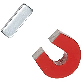 AOMAG Red Cast Alnico 5 Horseshoe Magnet With Keeper, 1.133