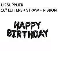 "DecorativeConceptsUK BLACK Happy Birthday Set 16"" - 13 Letters + Ribbon - NEW"