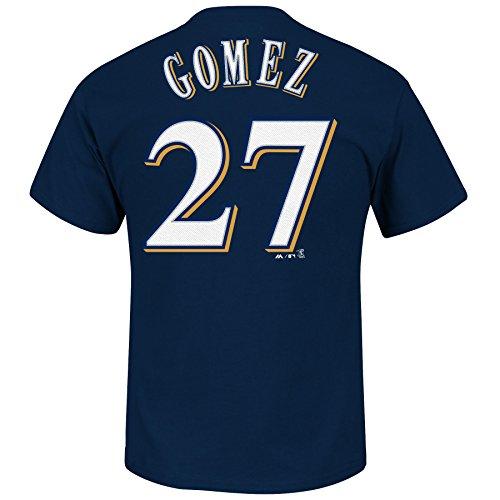 Carlos Gomez Milwaukee Brewers Marineblau Herren Name & Nummer T-Shirt von Majestic Klein (Brewer Shirts)