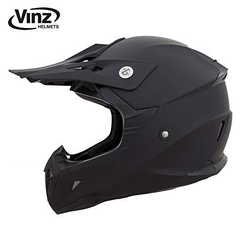 Vinz Motocross Helm | Crosshelm/Motorradhelm/Integralhelm Basic | für Cross und Quad | in Gr. XS-XL | Matt Schwarz (L (59-60 cm))