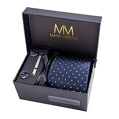Idea Regalo - MASSI MORINO Uomo Designer Cravatta - Box Set con fazzoletto, Gemelli e Fermacravatta X cucita a mano in microfibra in colori assortiti - confezione regalo (blu scuro puntini)