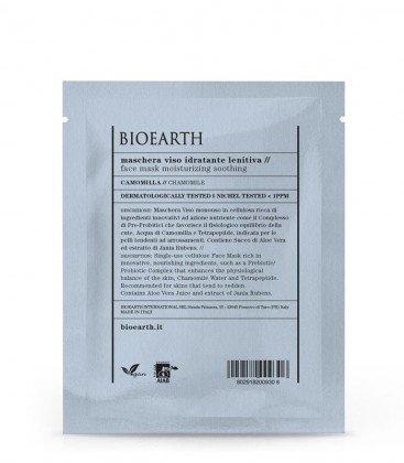 BIOEARTH - Masque Hydratant Apaisant en Cellulose - Traitement Rééquilibrant - Pour Peaux Sensibles et Rouges - à la Camomille et aux Prébiotiques - Certificats AIAB et Vegan - Testé au Nickel - 15 ml