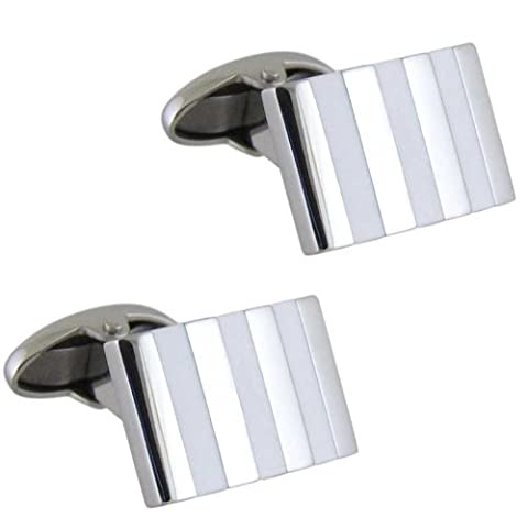 Gents Rectangular Shaped Cufflinks with White Stripes & T-bar Fastening