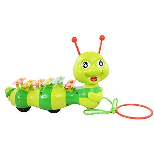 XuBa Sch\u00f6ne Ziehen Raupe Spielzeug Tier Cartoon Seil Xylophon A Sound und Ziehen Krabbeln Spielzeug f\u00fcr Kinder Kleinkinder Spielen Green