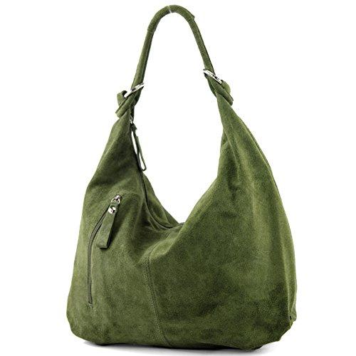 modamoda de - Ital sac à bandoulière en cuir suède T158, Couleur:Olivgrün