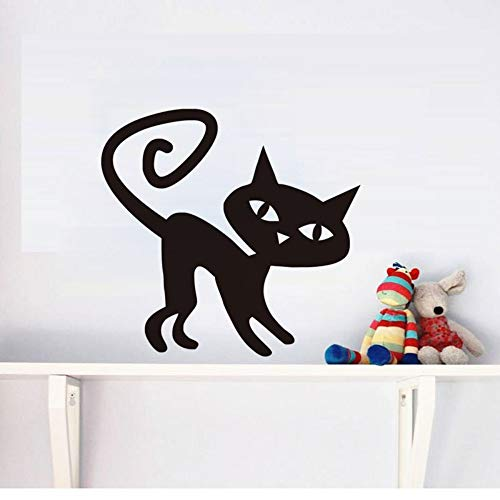 Cartoon Black Cat Wandaufkleber Halloween Kunst Schöne Katze Decals Wohnkultur für Kinderzimmer Wohnzimmer