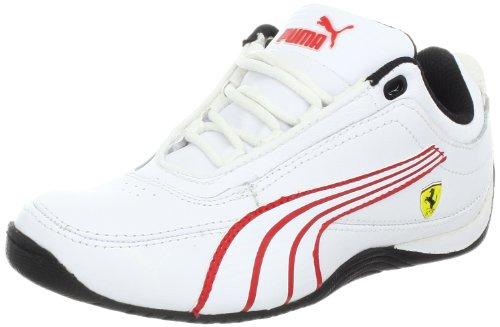 PUMA Drift Cat 4 Leather Ferrari Fashion Sneaker (Infant/Toddler/Little Kid/Big Kid),White/White/Rosso Corsa,5 M US Big Kid