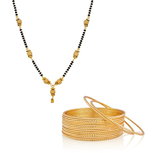 The Luxor Daily Wear Gold Plated Mangalsutra & Bangle Set Combo Gifts For Rakhshabandhan (2.8)