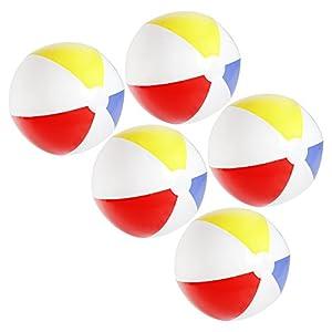 com-four® 5X Wasserball, Beachball in fruchtig-frischen Farben, Ø 32 cm (Ø 32...