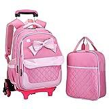 Zmsdt Hand Trolley Bag Trolley Rucksack DREI Mädchen Wasserdichte Abnehmbare Trolley Treppe Handtasche (Farbe : Pink)