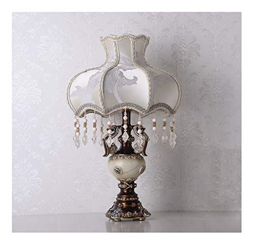 Von Hand Bemalt, Sind Mit Schreibtischen (WFTD Viktorianischen Stil Nachttischlampe 13 Zoll Prinzessin Stofflampen mit Kristall Anhänger europäischen Stil Hand Skulptur bemalt Harz Schreibtischlampe)