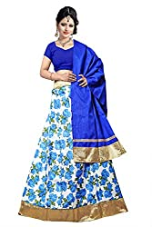 Florence Womens Art Silk Blue Floral Printed Lehengha Choli(SL016_Blue)