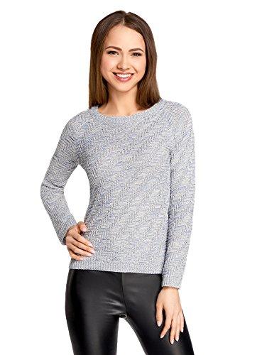 oodji Ultra Mujer Jersey de Punto Texturizado con Rayas Diagonales, Gris, ES 40 / M