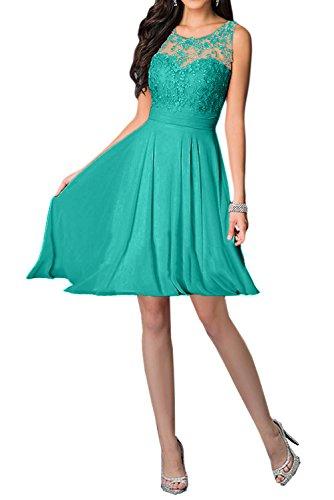 Missdressy Damen Elegant Chiffon Charmeuse Applikation Rundkragen Aermellos Kurz Abendkleider Partykleider Festkleider Tanzenkleider Blau-Gruen
