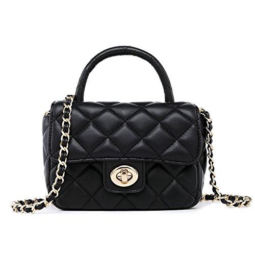 ToYu Design Frauen Karriere OL Handtasche kariert Kette Tasche Umhaengetasche Mode-Strasse Damentaschen (schwarz) -