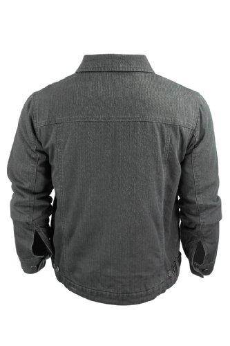 Attire - Blouson En Jeans Pour Hommes Matelassé Noir Délavé Laver Noir
