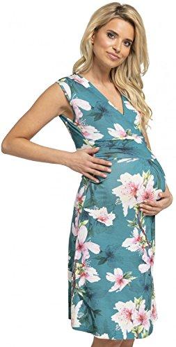 Grünes Sommerkleid für Schwangere mit Blumen knielang ärmellos