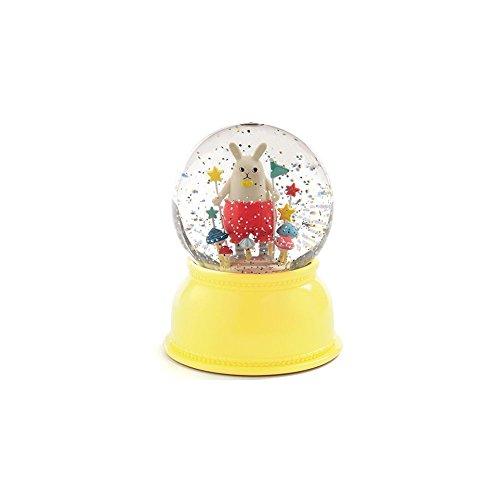 Lampe veilleuse boule neigeuse paillettes lapin champignon jaune D11xH14cm YOKO jaune jaune