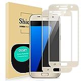 Ossky Schutzfolie Kompatibel für Samsung Galaxy S7 2.5D Full Cover Glas 2 Pack 9H Gehärtetes Glas, Ultraklar, Anti-Fingerdruck, Blasenfrei, Kratzenschutz Panzerglas für Samsung Galaxy S7 - Gold