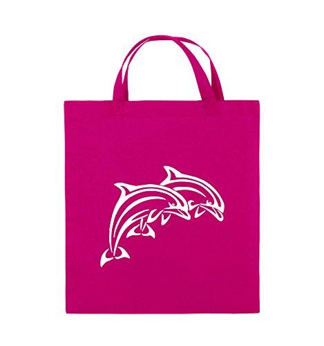 Comedy Bags - DELPHINE - Jutebeutel - kurze Henkel - 38x42cm - Farbe: Schwarz / Silber Pink / Weiss