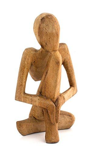 Impressionata Deko Figur Denker aus Waru Lot Holz Braun, Höhe 10cm, Abstrakte Holzfigur Afrika Asia Skulptur Mann Frau...
