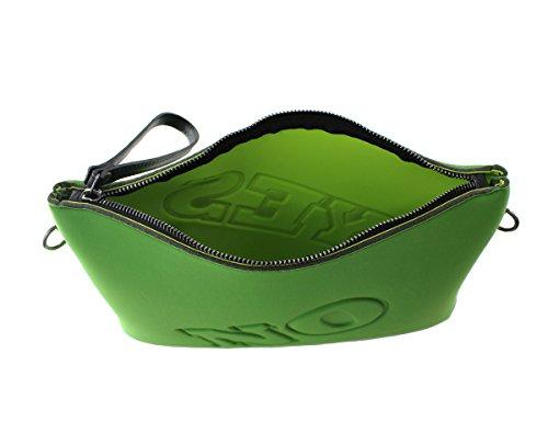 CTM Frauen Neopren Kupplung, kleine Tasche mit Innenschulterriemen in Italien - 32x24x5 Cm Grün