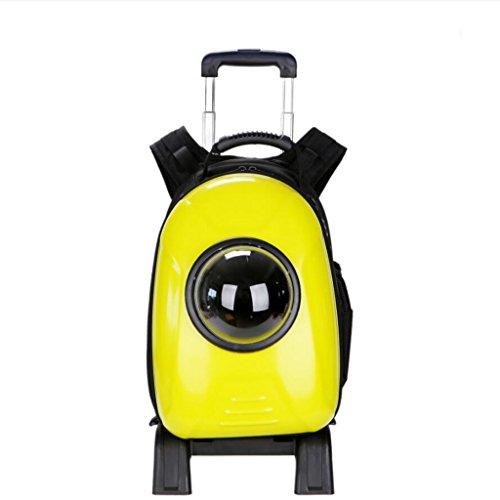 Miaoge Pet Carrier Barres de traction chien de compagnie portatif sac à dos pour chat Voyage Voyage sac à bagages imperméable à l'eau amovible (jaune) 34.5*29*42cm