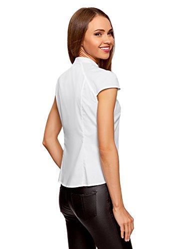 oodji Ultra Damen Bluse Aus Baumwolle mit Kurzen Ärmeln Weiß (1000N)