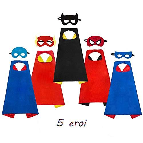 SAYOMOK Costumi da Supereroi per Bambini-Regali di compleanno - Costumi Carnevale Mantelli e Maschere Giocattoli per Bambini e Bambine-5 Mantelli e 5 Maschere
