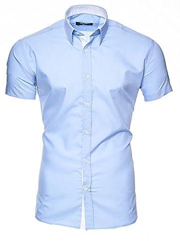 KAYHAN Herren Kurzarm Hemd Florida Blau ( L )