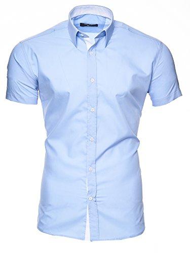 Kayhan Herren Kurzarm Hemd Florida Blau (3XL)