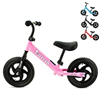"12"" Balance Bike, No Pedal Sport Training Bicycle Carbon Steel Frame Balance Bike Training Bicycle Walking Bicycle for Kids Toddlers Boys Girls 2- to 6 Years Old (Pink)"