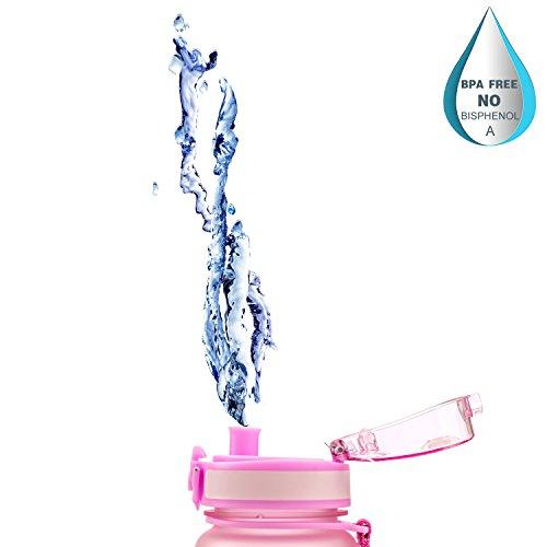 MAIGG Beste Sports Trinkflasche - 500ml & 1000ml - Eco Friendly & BPA-freiem Kunststoff - für das Laufen, Fitness, Yoga, Im Freien und Camping - Schnelle Wasserdurchfluss , Flip Top, öffnet sich mit 1 Rosa