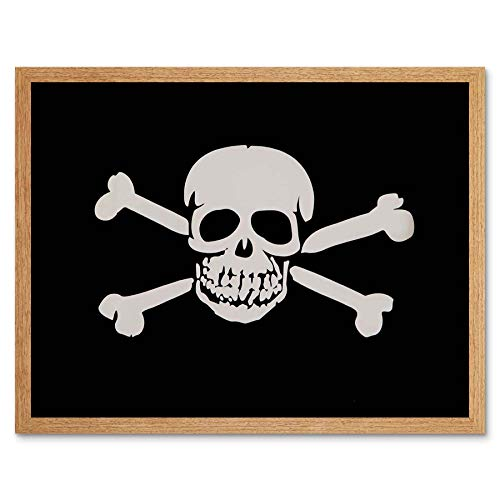 Wee Blue Coo LTD Skull and Cross Bones Pirate Skelton Halloween Art Print Framed Poster Wall Decor Kunstdruck Poster Wand-Dekor-12X16 ()