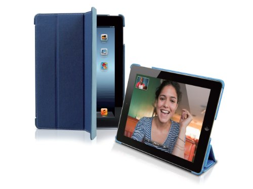 SBS Book Case Denim Finish und faltbarer Vorderseite für iPad 2/3/4 – Blau (Denim-finish)