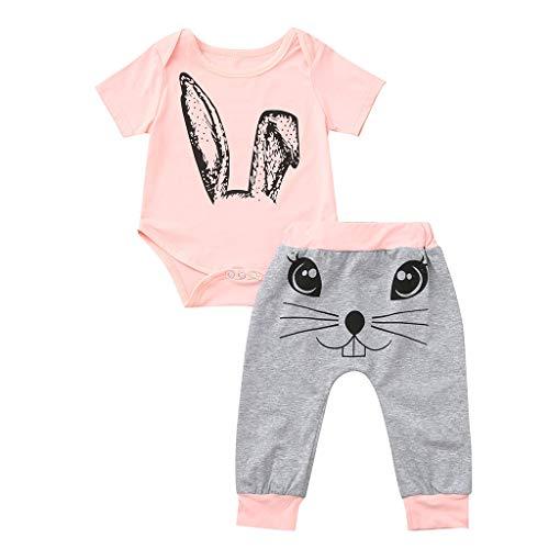 DQANIU ❤️❤️ kinderkleidung, Kleinkind scherzt Baby-Mädchen-Karikatur-Kaninchen-Oberseiten, Druckspielanzug-Hosen-Kleidungs-Sets ()