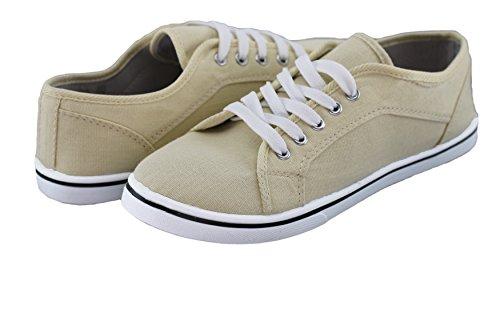 brandsseller Damen Freizeitschuh Leinenschnürer Sneaker Uni -Schwarz, Weiß, Braun, Sand, Orange, Gelb und Grün - Gr 36-41 von Sand