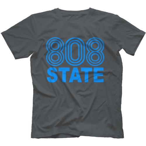 808 State T-Shirt 100% Cotton, Charcoal