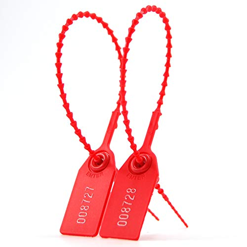 c96d59927ab1 Leadseals(R) 100 PlasticTamper Seals, Zip Ties for Fire Extinguishers Pull  Tite Security Tags Numbered Disposable Self-Locking Tie 250mm Length (Red)