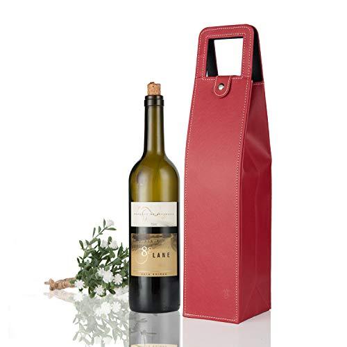 yunko gehobenen Leder Wein Flasche Displayschutzfolie Wein Tote Tasche Wiederverwendbar Geschenk Tüte einzelnen Wein Champagner Flasche Carrier Case tragbar Reise Zubehör rot