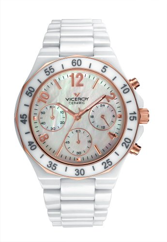 Viceroy Ceramic Collection Ladies Crono Watch 47600-95 With Full Ceramic Case And Bracelet Mop Dial