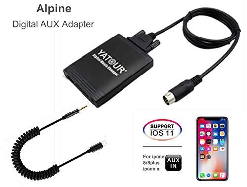 Alpine iPhone Stereo Aux Adapter, KFZ Digital Audio-Eingang Interface mit SD-Karte, iPod MP3 USB, 3,5 mm AUX IN, Lightning Musik Player für M und Honda/Acura 92-97 (M06-mbus) Acura Ipod